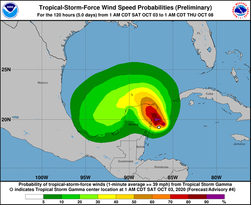 Tropical Storm Gamma Oct 3 2020 NHC