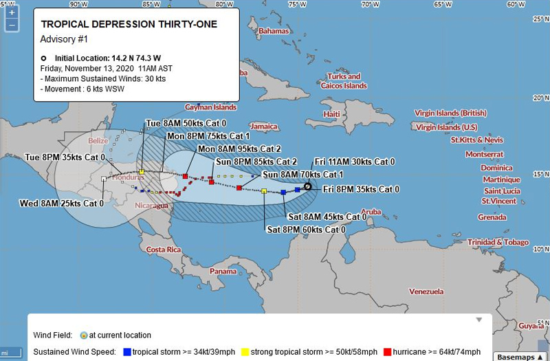 BWS Tropical Depression Thirty One Nov 13 2020
