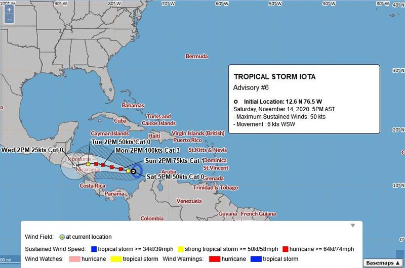 BWS Tropical Storm Iota November 14 2020