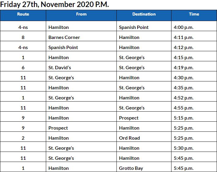 Bus Cancellations PM Bermuda Nov 27 2020