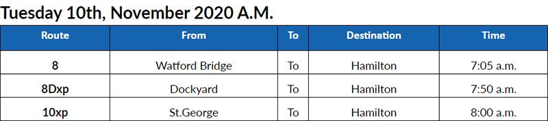 Bus cancellations AM Bermuda Nov 10 2020