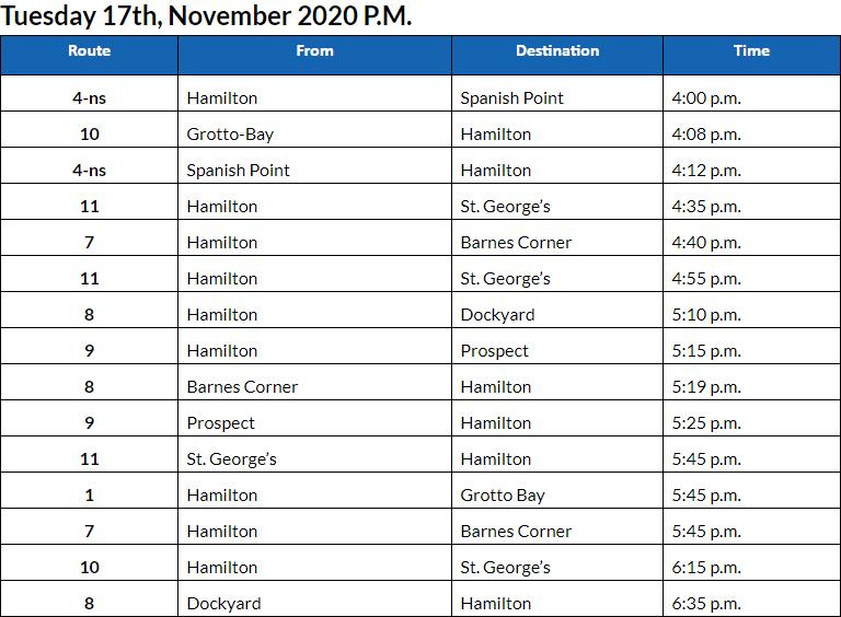 Bus cancellations PM Bermuda Nov 17 2020