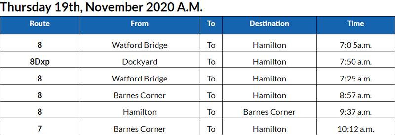 Bus cancellations pm Bermuda Nov 19 2020