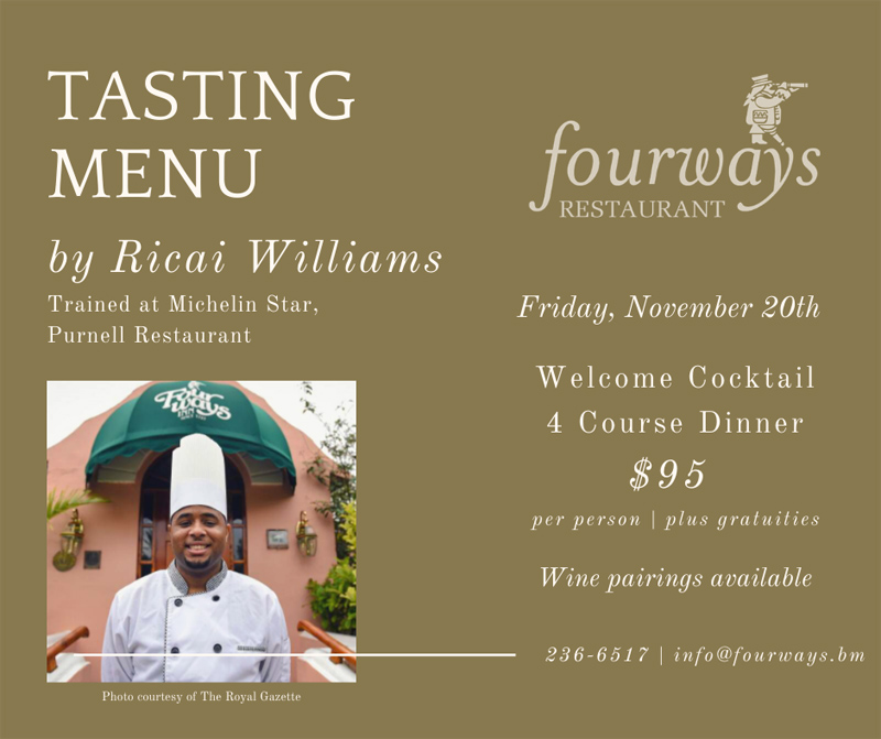 Fourways Tasting Dinner Bermuda Nov 2020