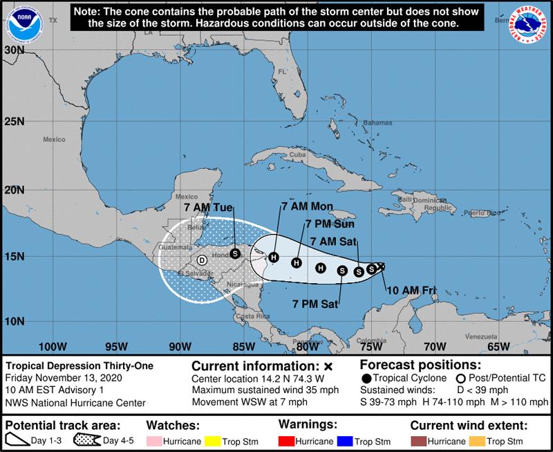 NHC Tropical Depression Thirty One Nov 13 2020