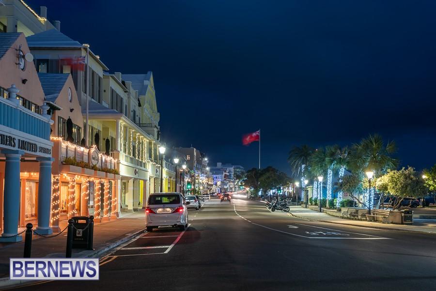 303 - Front Street, Hamilton, looking very festive with Christmas lights illuminating the City