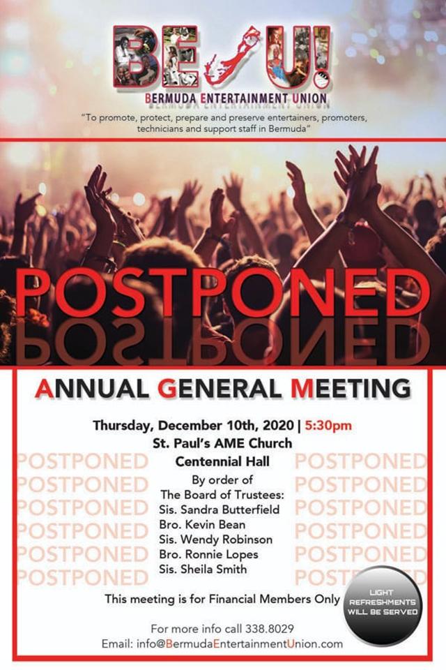 BEU General Meeting Postponed Bermuda Dec 2020