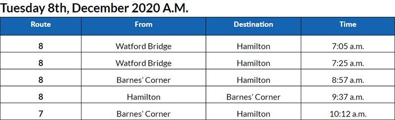Bus cancellations AM Bermuda Dec 8 2020