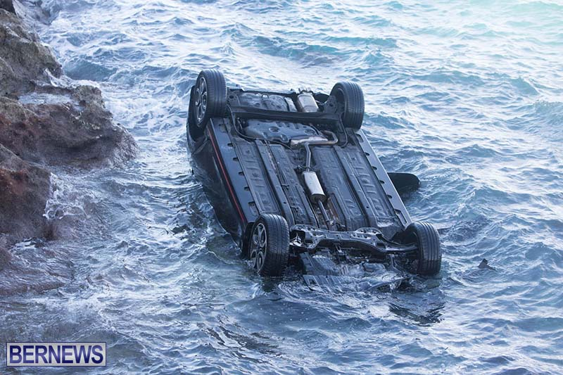 Car Overturned West End Sailboat Club Bermuda Dec 2020 3