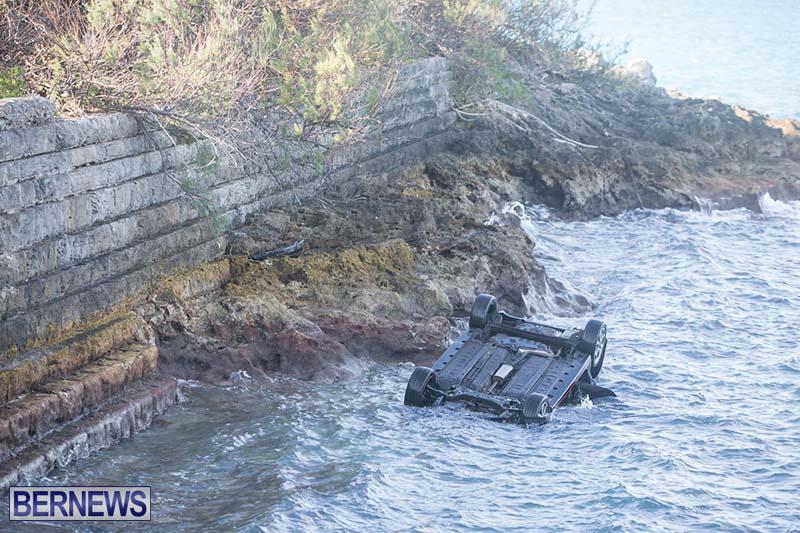 Car Overturned West End Sailboat Club Bermuda Dec 2020 4