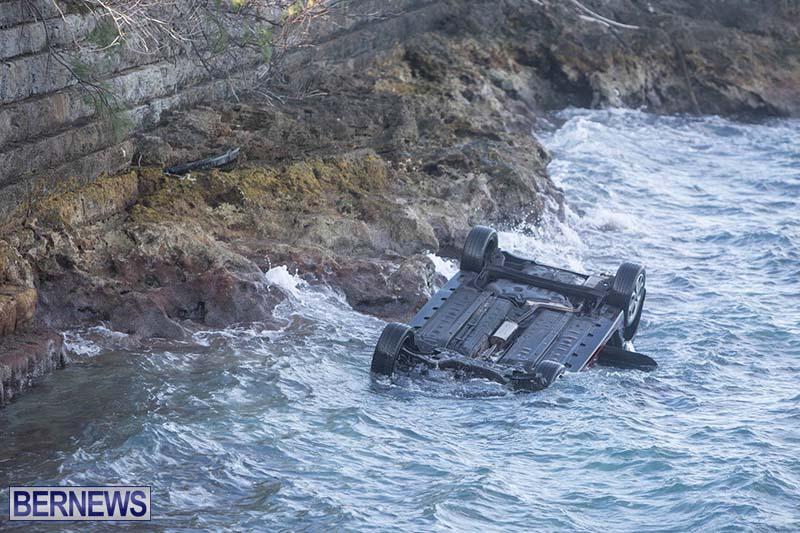 Car Overturned West End Sailboat Club Bermuda Dec 2020 6