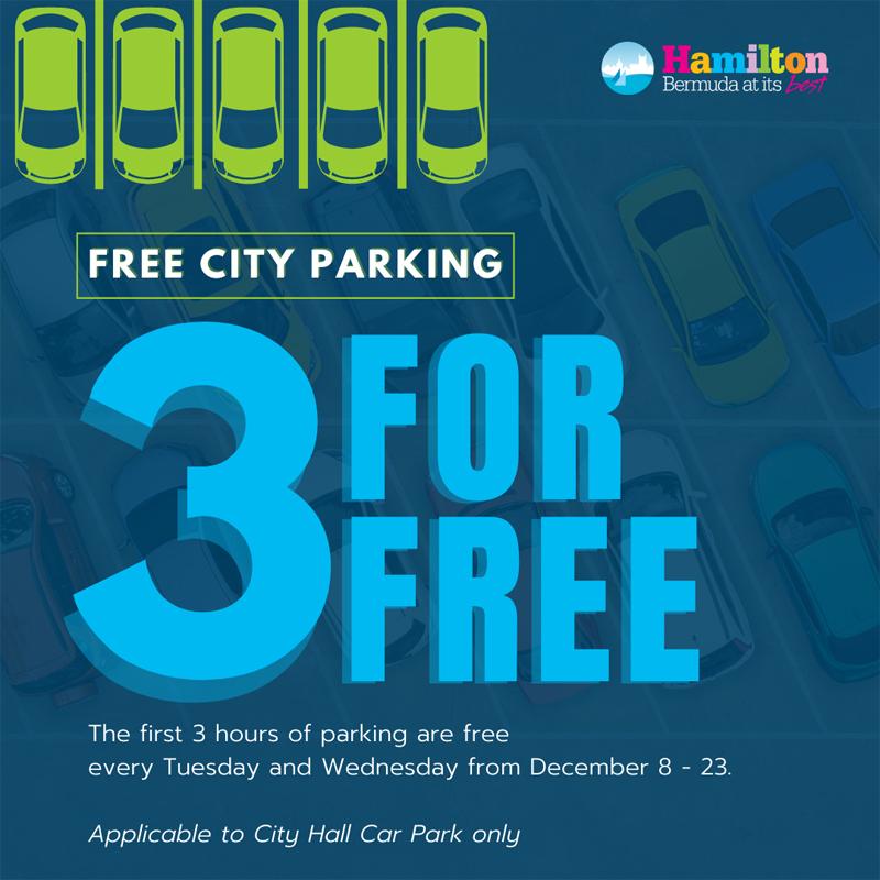 City Three For Free holiday parking Bermuda Dec 2020
