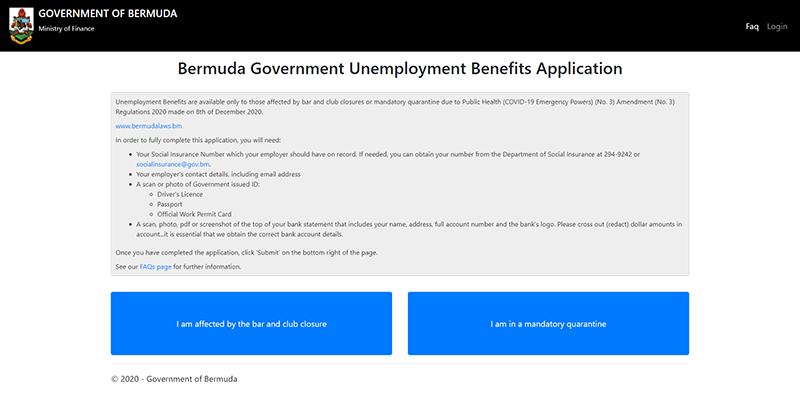 Government website screenshot Bermuda Dec 11 2020