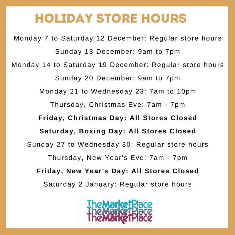 MarketPlace Christmas Holiday Hours Bermuda Dec 2020