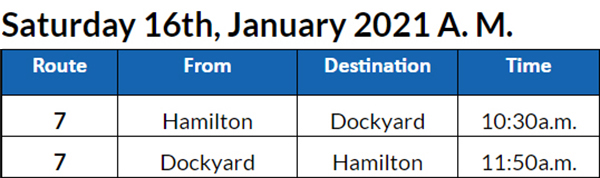 Bus Cancellations AM Bermuda Jan 16 2021