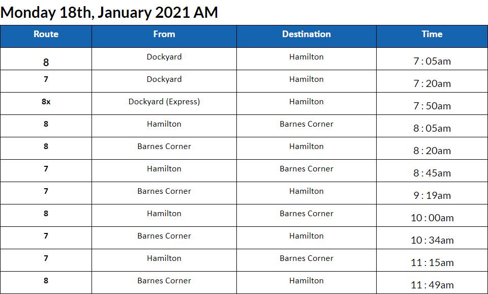 Bus Cancellations AM Bermuda Jan 18 2021