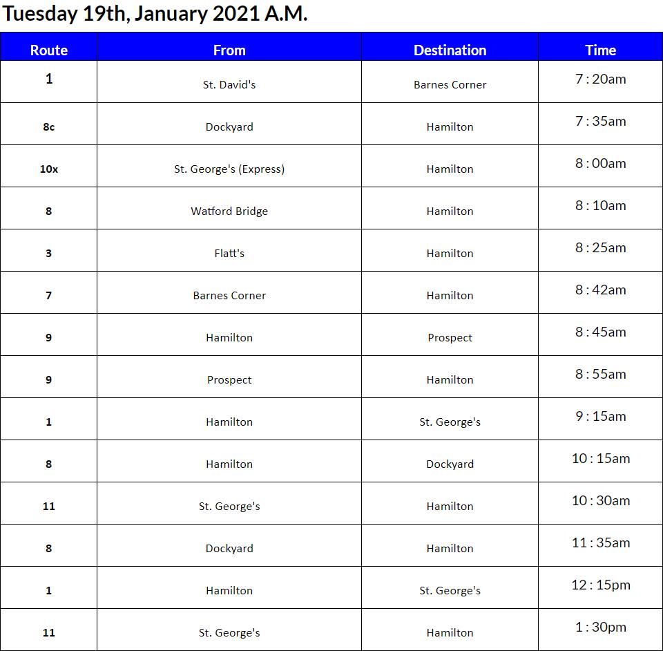 Bus Cancellations AM Bermuda Jan 19 2021