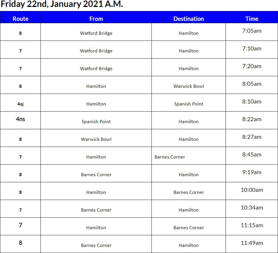 Bus Cancellations AM Bermuda Jan 22 2021