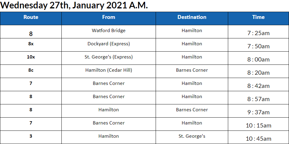 Bus Cancellations AM Bermuda Jan 27 2021