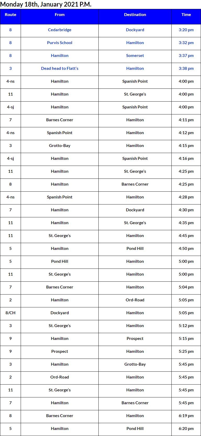 Bus Cancellations PM Bermuda Jan 18 2021