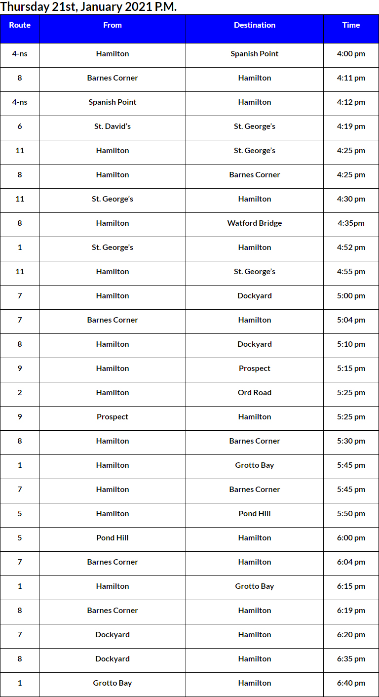 Bus Cancellations PM Bermuda Jan 21 2021
