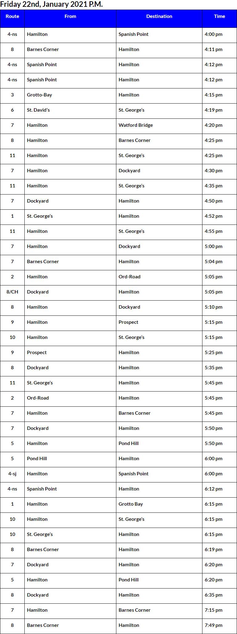 Bus Cancellations PM Bermuda Jan 22 2021