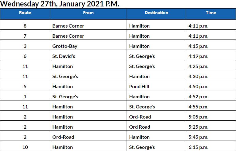 Bus Cancellations PM Bermuda Jan 27 2021
