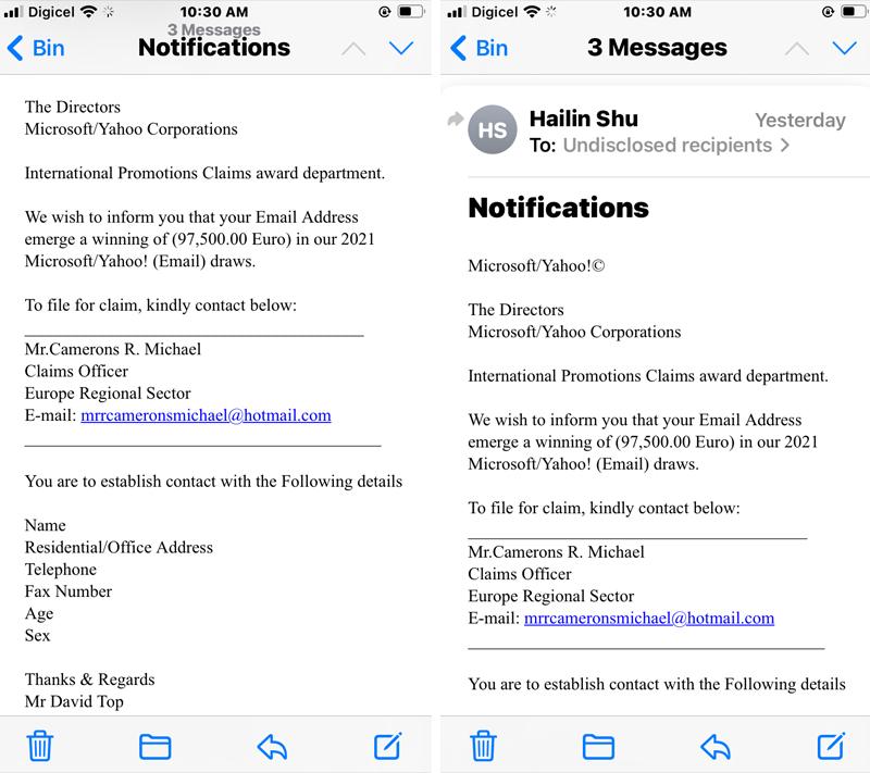Phishing scam notifications January 2021