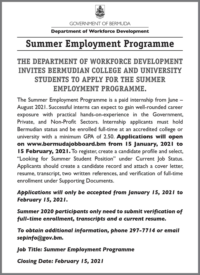 Summer Employment Programme Bermuda Jan 2021