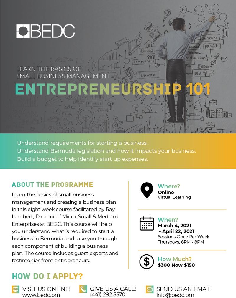 BEDC Entrepreneurship 101 Bermuda Feb 2021