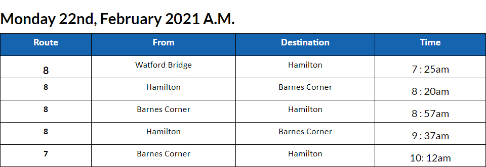 Bus Cancellations AM Bermuda Feb 22 2021