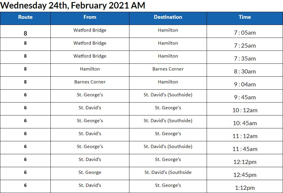 Bus Cancellations AM Bermuda Feb 24 2021