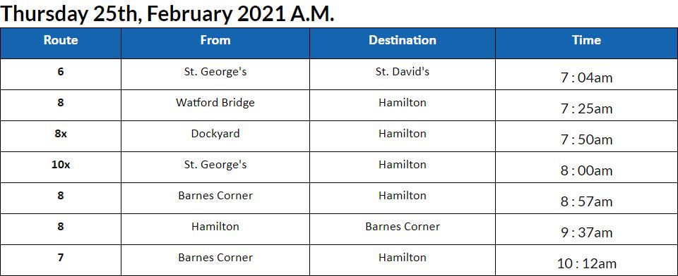 Bus Cancellations AM Bermuda Feb 25 2021