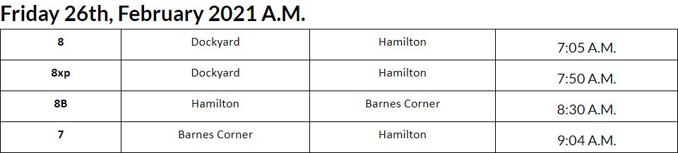 Bus Cancellations AM Bermuda Feb 26 2021