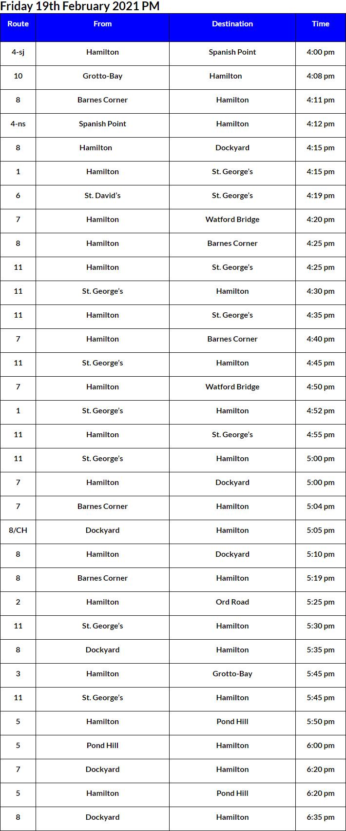 Bus Cancellations PM Bermuda Feb 19 2021
