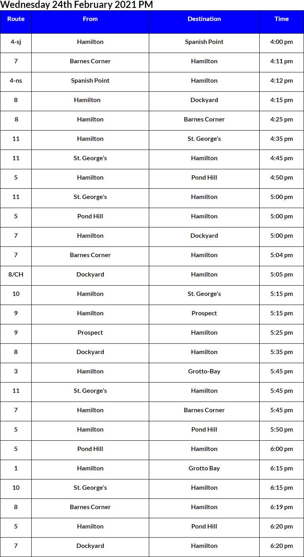 Bus Cancellations PM Bermuda Feb 24 2021
