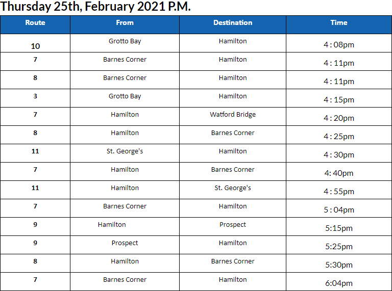 Bus Cancellations PM Bermuda Feb 25 2021