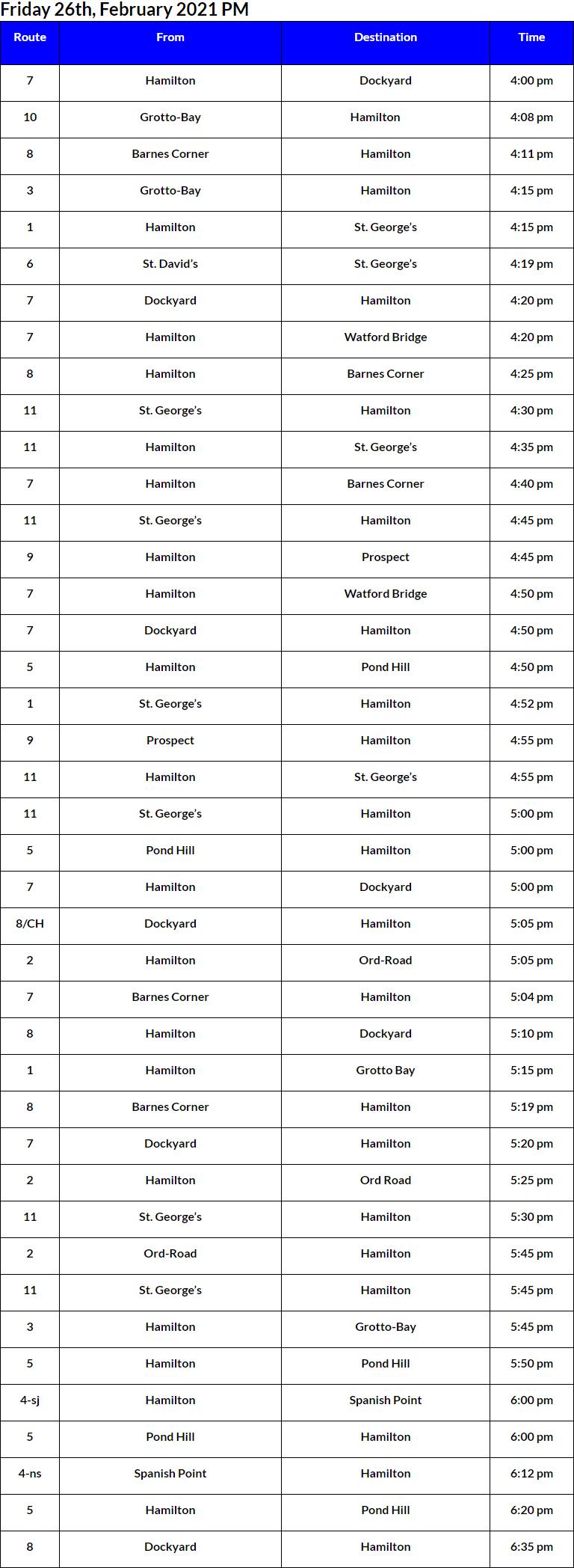 Bus Cancellations PM Bermuda Feb 26 2021