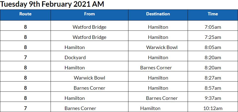 Bus cancellation AM Bermuda Feb 9 2021