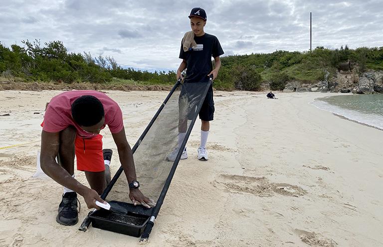Microplastics beach Bermuda Feb 2021