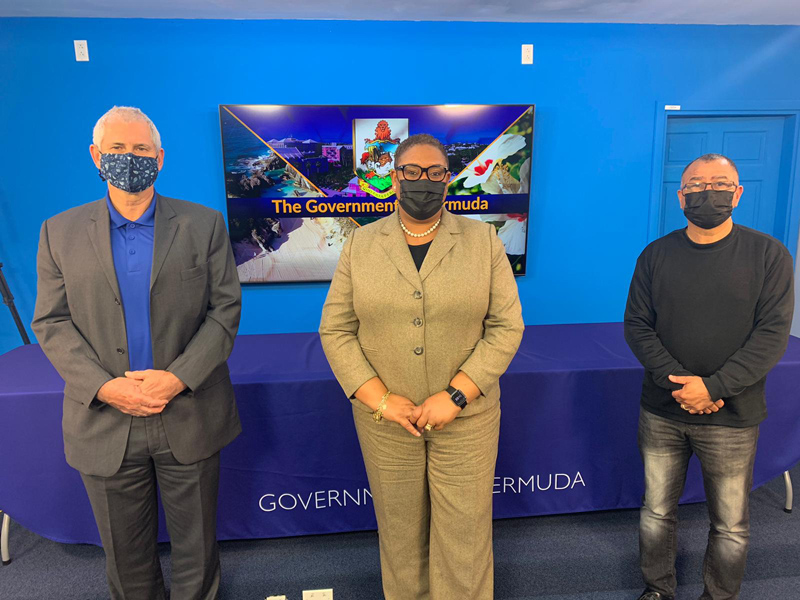 Minister Renee Ming, Steve Cosham, Pastor Leroy Bean Bermuda Feb 2021