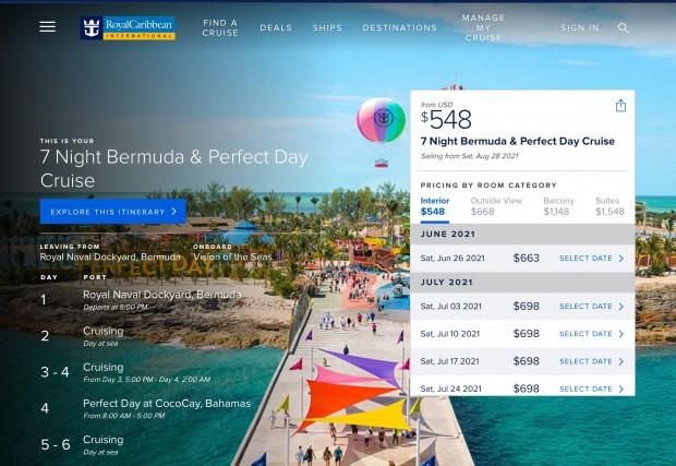 7 Night Bermuda & Perfect Day Cruise  Royal Caribbean Cruises