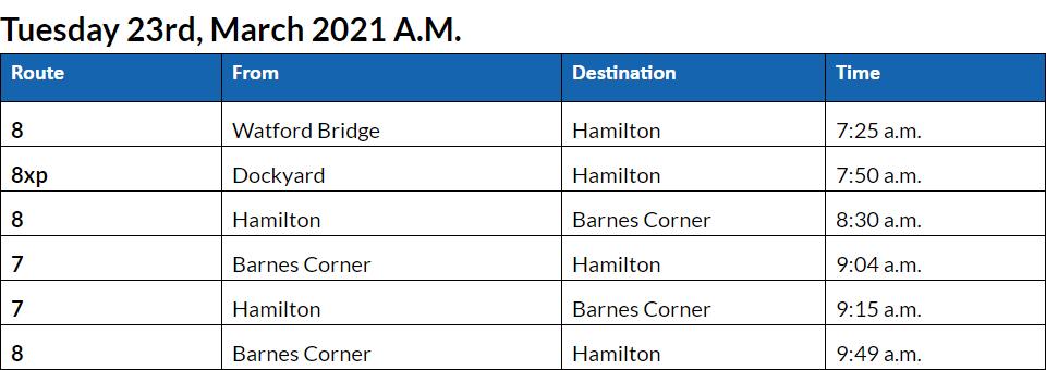 Bus Cancellations AM Bermuda March 23 2021