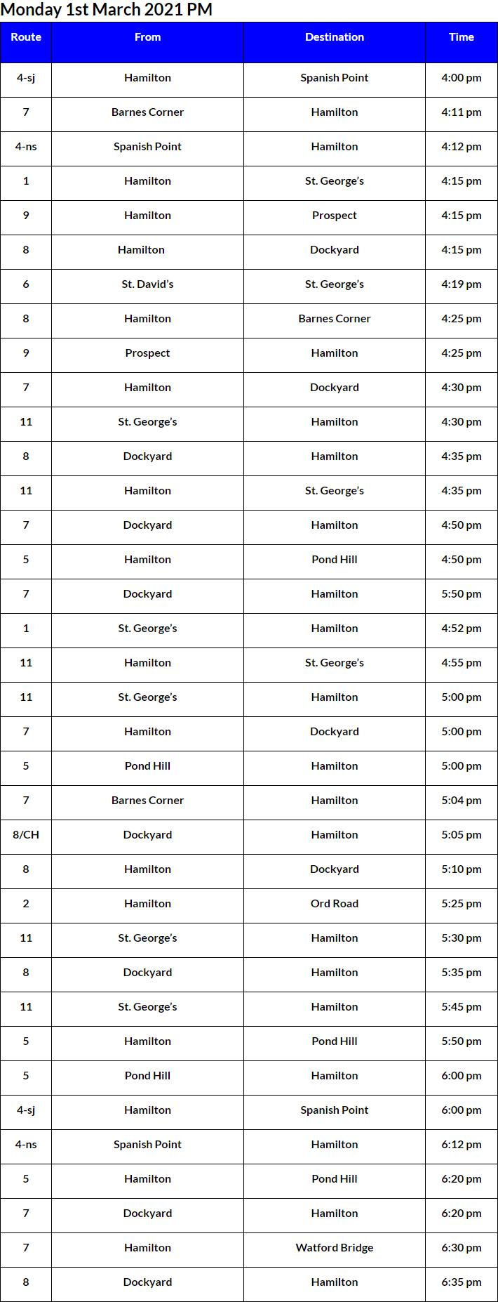 Bus Cancellations PM Bermuda March 1 2021