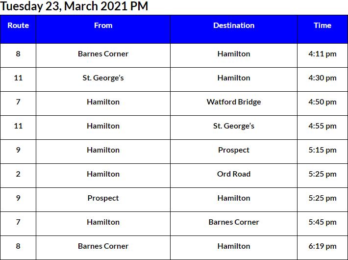 Bus Cancellations PM Bermuda March 23 2021