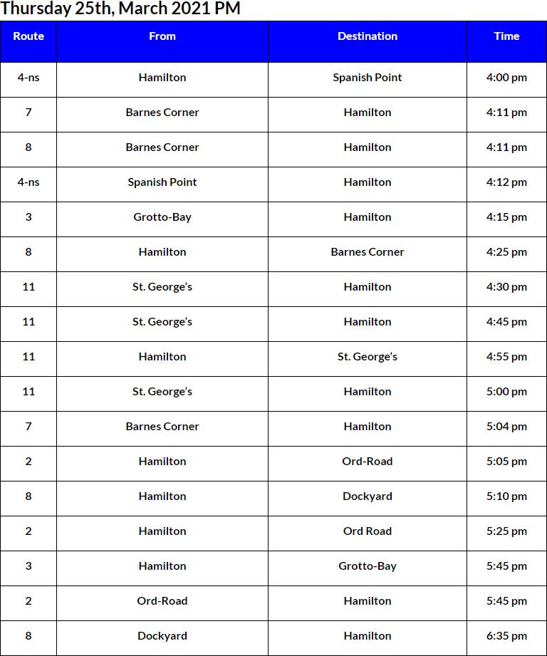 Bus Cancellations PM Bermuda March 25 2021