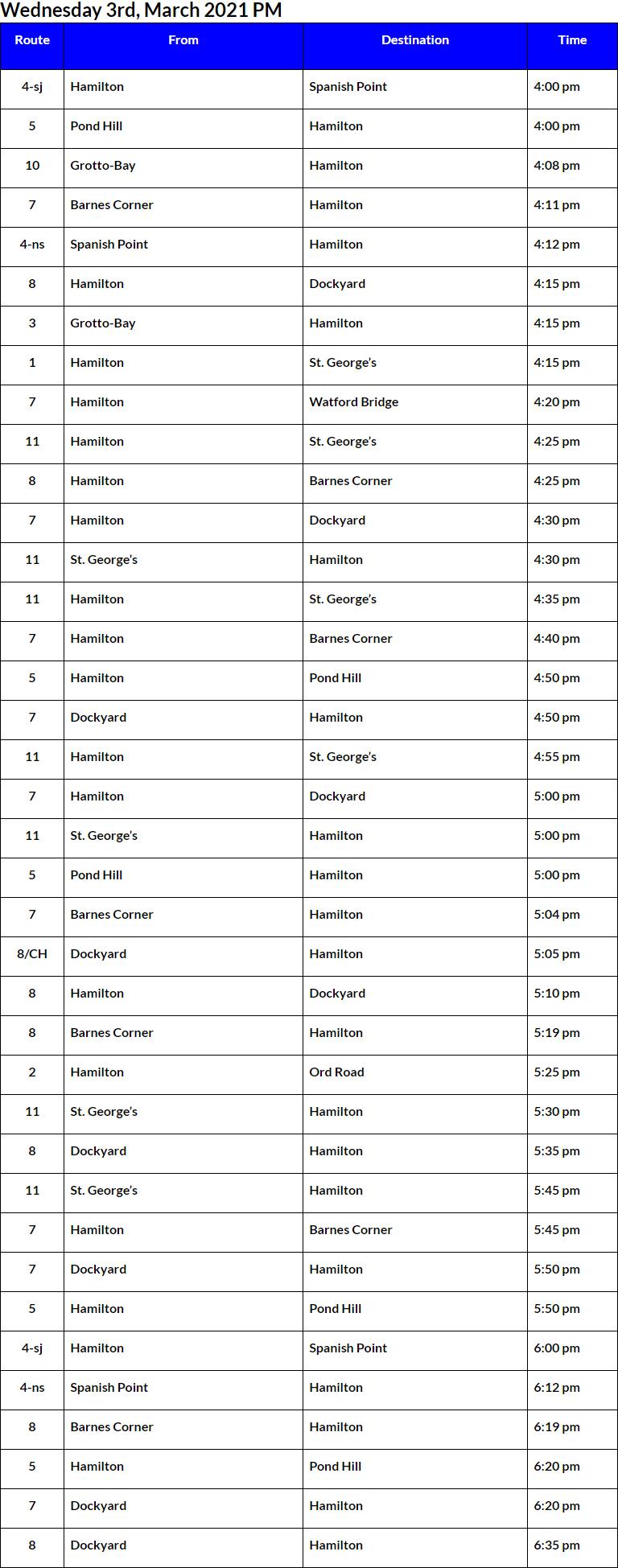 Bus Cancellations PM Bermuda March 3 2021