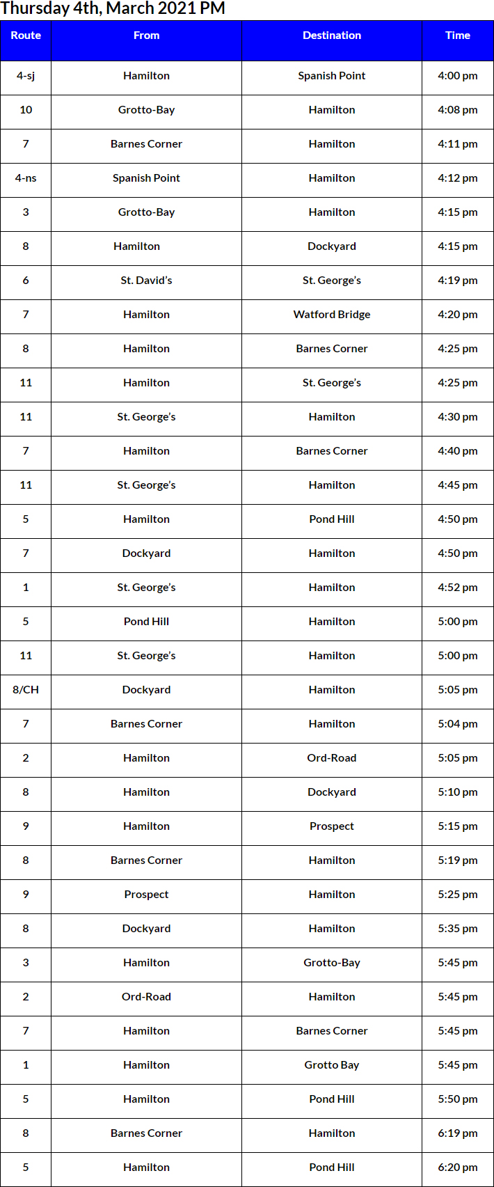 Bus Cancellations PM Bermuda March 4 2021