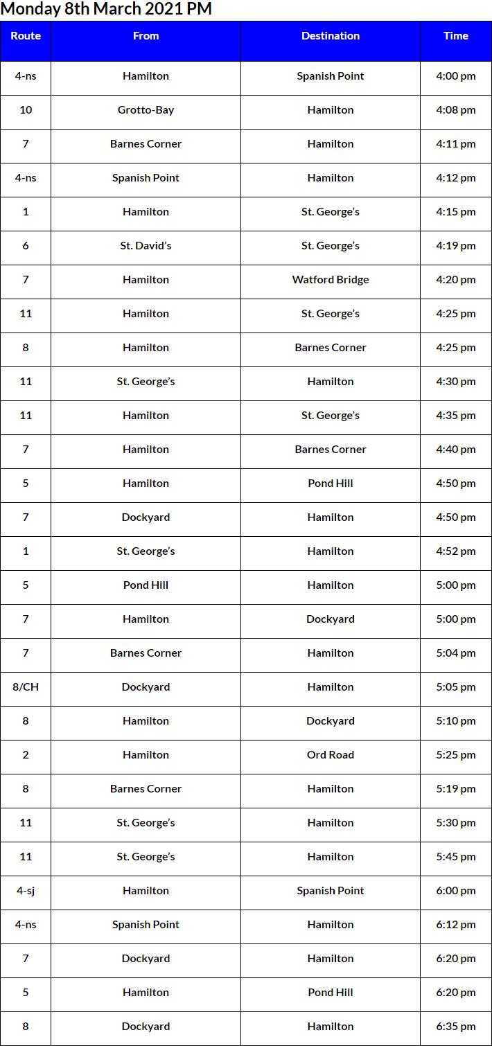 Bus Cancellations PM Bermuda March 8 2021