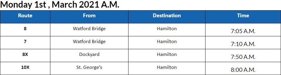 Bus cancellations AM Bermuda March 1 2021